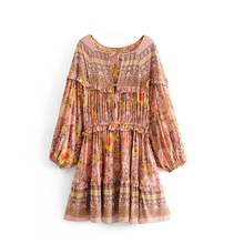 Gypsy dress floral print summer Dresses mini short women dresses garden party BOHO Dress vestidos