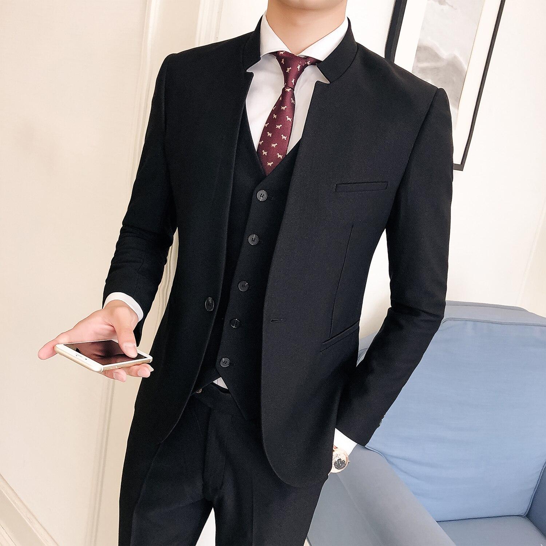 Stand veste Mariage Boutique hommes 2018 Mens Mode Robe Noir Costumes Gilet Costume Costumes De Marié Pantalon Nouveau Formelle D'affaires marine Col Bleu aqrwnaWvp