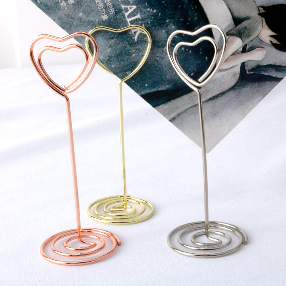 10pcs/lot New Gold/Rose Gold Heart Design Metal Notes Clip Creative Message Photo Clip Stand Memo Clip Note Holder Card Holder стоимость