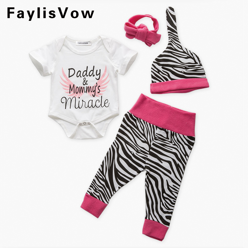 Clearance 4Pcs Baby Romper Clothing Set for Girls Zebra Stripes Daddy Mommy Letter Print Jumpsuit Romper Pants Hat Headband Set