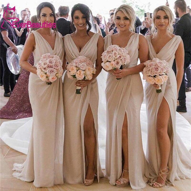 Chiffon Bridesmaid Dresses Long 2019 V-Neck Side Slit Robe Demoiselle D'honneur Wedding Party Dress Vestidos De Fiesta De Noche