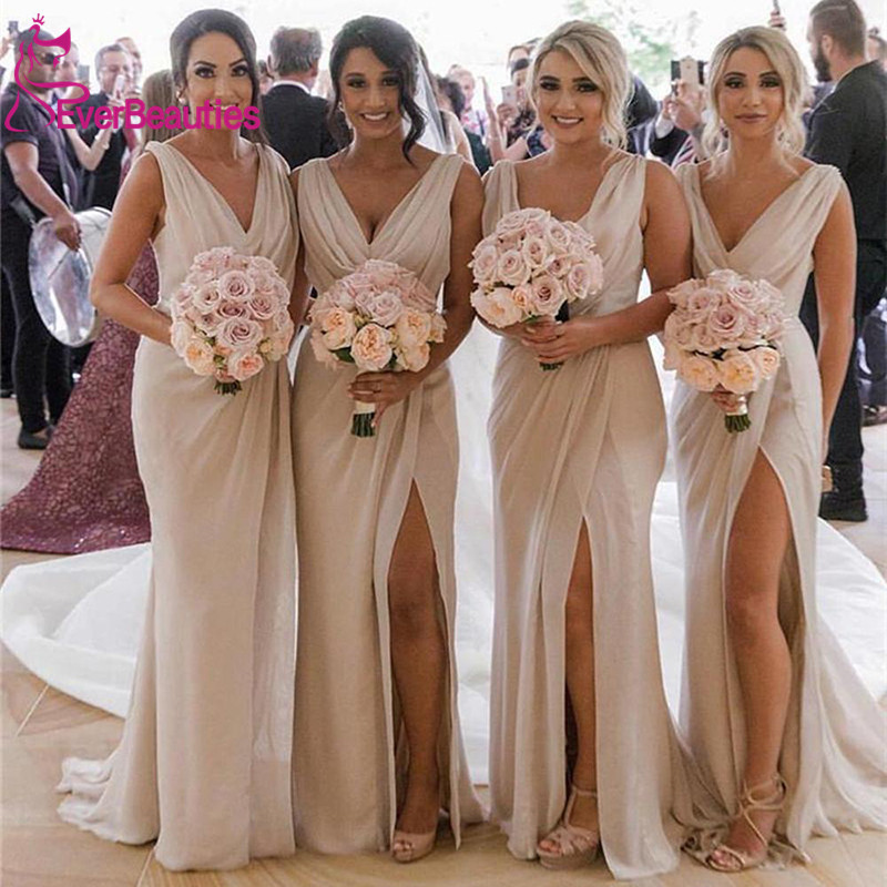 Chiffon   Bridesmaid     Dresses   Long 2019 V-Neck Side Slit Robe Demoiselle D'honneur Wedding Party   Dress   Vestidos De Fiesta De Noche