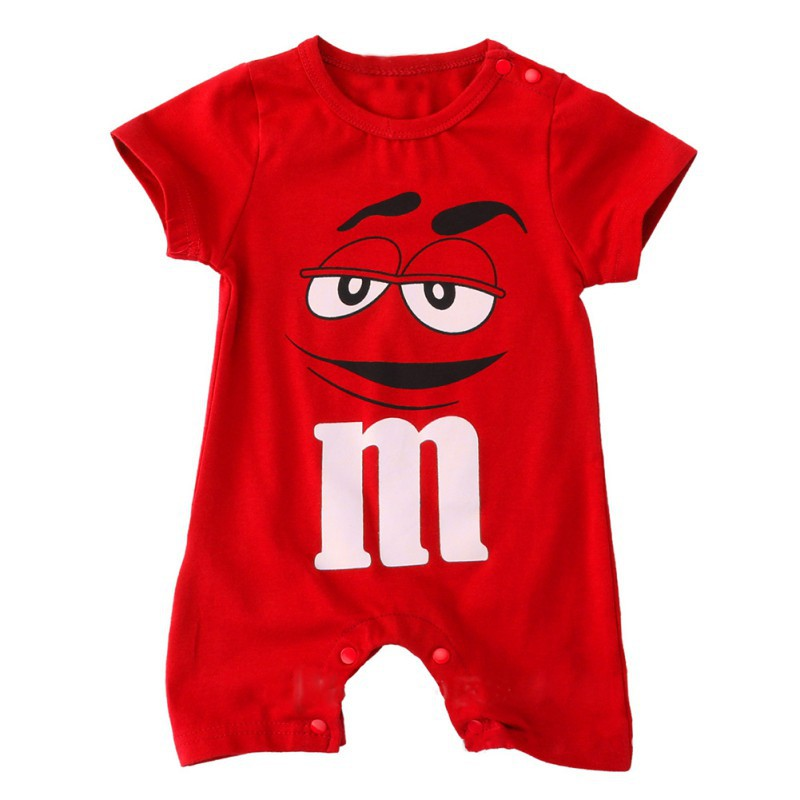 Baby Short Sleeve Jumpsuit Summer Cotton Rompers Newborn O-Neck Chocolate Beans Print Cotton Baby