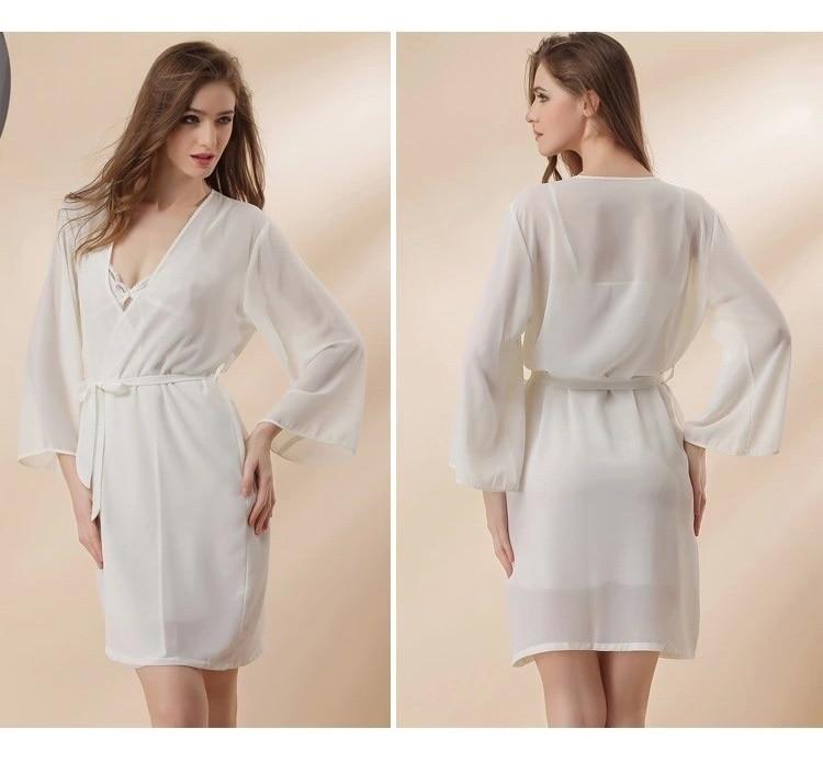 white chiffon sexy lingerie robes set 3
