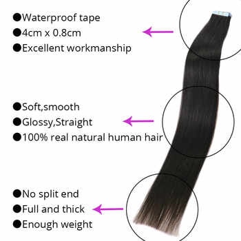 """MRS HAIR Tape In Human Hair Extensions 14\""""-24\"""" Non Remy Hair On Tape PU Skin Weft Seamless Human Hair 20pcs"""