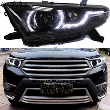 Car Styling Head Lamp for Toyota Highlander LED Headlight 2012 2014 Highlander DRL H7 D2H Hid Option Angel Eye Bi Xenon Beam
