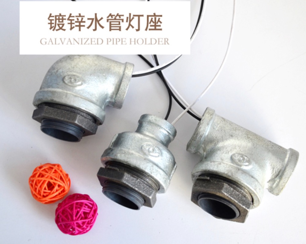 3SET/LOT DIY Industrial Pipe Elbow Connector Pipe Light Holder цены