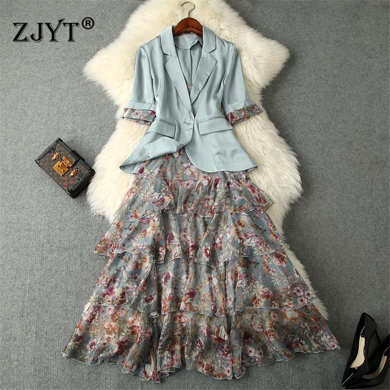 2019 Spring Summer Elegant Lady Office Dress 2Piece Set High Quality Women s One Button Blazer
