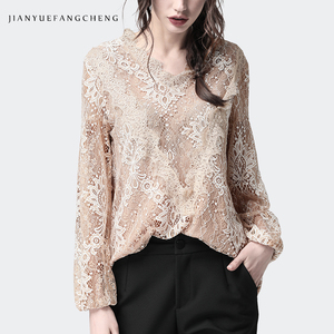 Image 4 - Lace Shirt Hollow Out Floral Blouse Women Long Sleeve triangle ruffle Top Solid Color Loose 2019 Fashion Sexy Korean Clothing