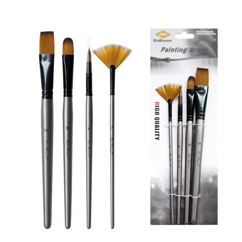 Silver High Quality Nylon Hair Art Paint Brush Oil Painting Brush Aluminum Tube Birch Brush Multiple Specifications Water 4pcs