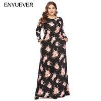 Enyuever Plus Size Dresses For Women 6XL Autumn Floral Print Kaftan Long Sleeve Party Vestido Casual Vintage Dress With Pockets
