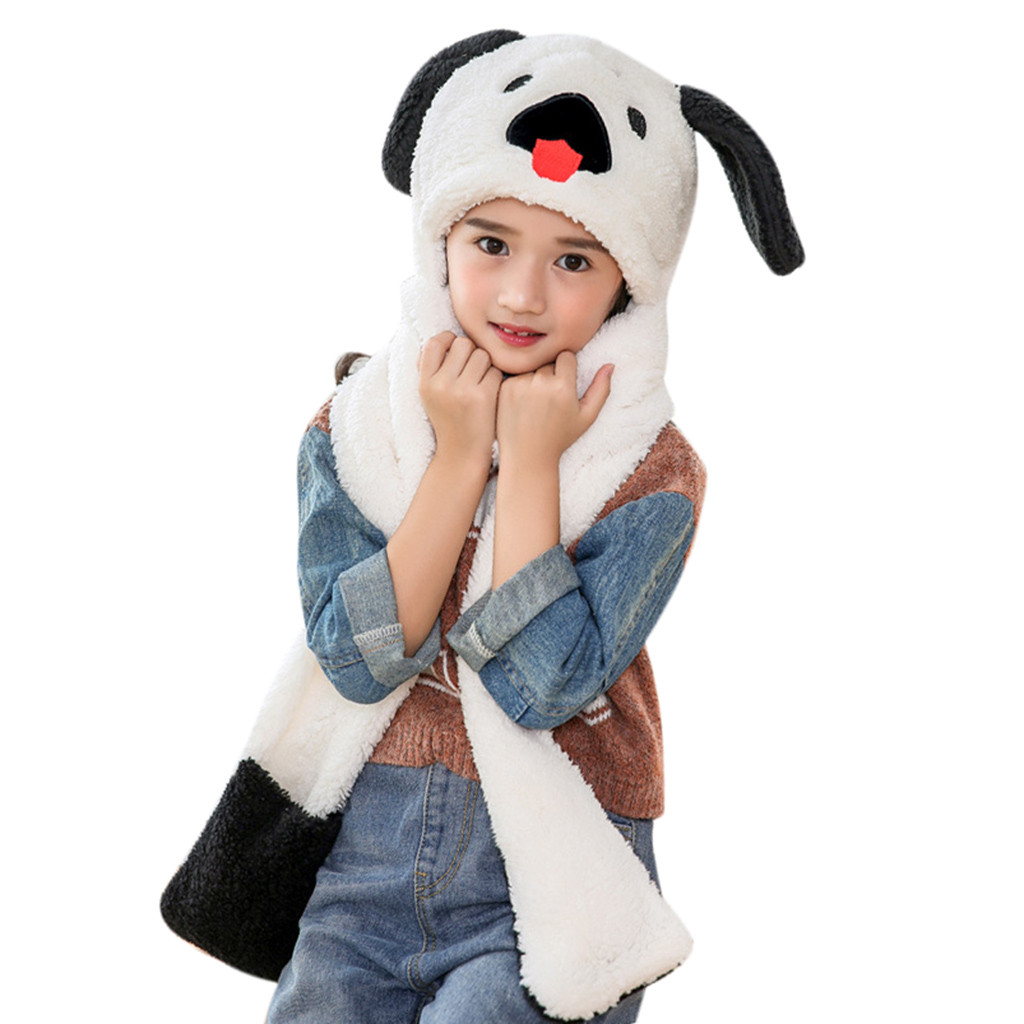 Diplomatic Hot Fashion Faux Fur Cute Kids Baby Cartoon Dog Winter Warm Fluffy Hood Scarf Hat Snood Pocket Hats Gloves Ears Baby Beanies Fixing Prices According To Quality Of Products