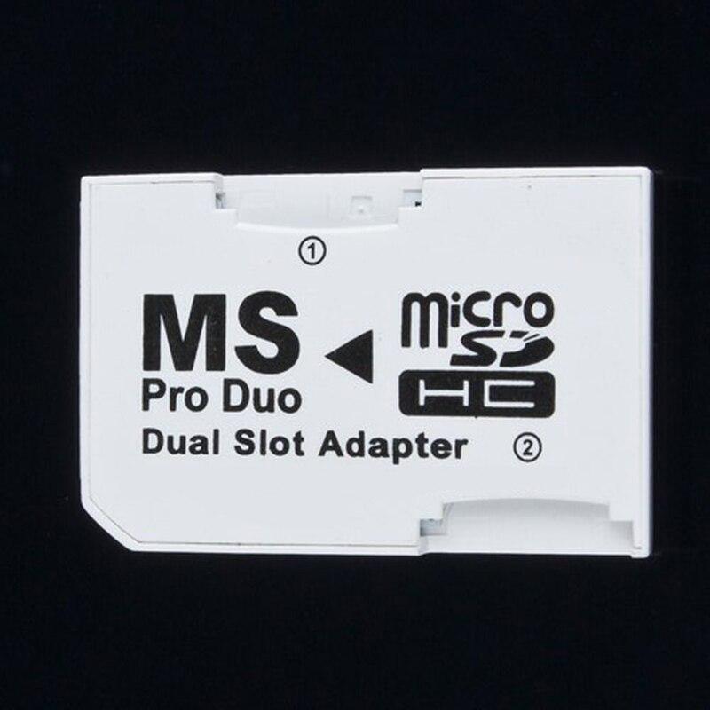 2 slot duplo microsd sdhc tf para memória vara ms cartão pro duo adaptador para psp 64 mb até 8 gb tf cartão + memória vara conversor branco