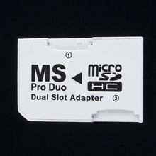 Adaptador Dual de 2 ranuras para tarjeta TF a Memory Stick, Micro memoria USB Pro Duo para PSP 64MB hasta 8GB TF Card + Memory Stick Converter blanco