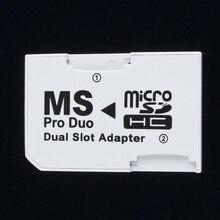 Adaptador duplo 2 slot micro memória tf, para cartão de memória ms pro duo para psp 64mb de até cartão de memória tf 8gb + conversor branco