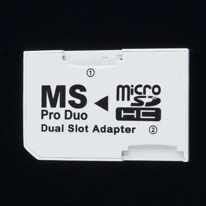 Dual 2 Slot MicroSD SDHC TF To Memory Stick MS Card Pro Duo Adapter For PSP 64MB Up To 8GB TF Card+Memory Stick Converter White
