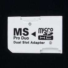 Çift 2 yuvası mikro bellek TF Memory Stick MS kartı Pro Duo adaptörü PSP için 64MB kadar 8GB TF kart + Memory Stick dönüştürücü beyaz