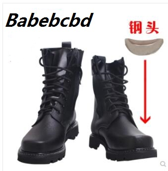 2018 Men's Military combat boots high top steel men's winter woollen warm and waterproof tactical boots desert image