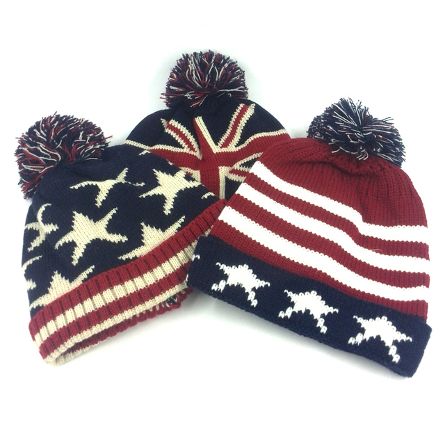 Cheap usa american flag Beanie hat wool winter warm knitted caps and hats  for man and women Skullies cool Beanies wholesale 24bbb6d313a
