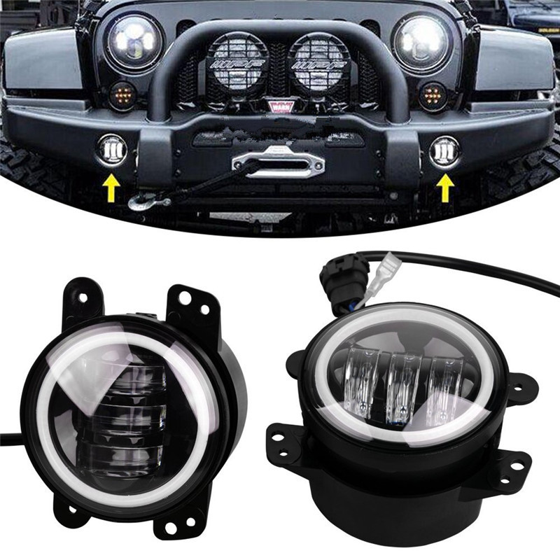 цены  High Power 2 PCS Hottest 4'' Round Fog Light For Jeep Wrangler JK  30W LED Fog Lamp Auto DRL Lighting Leds Headlamp