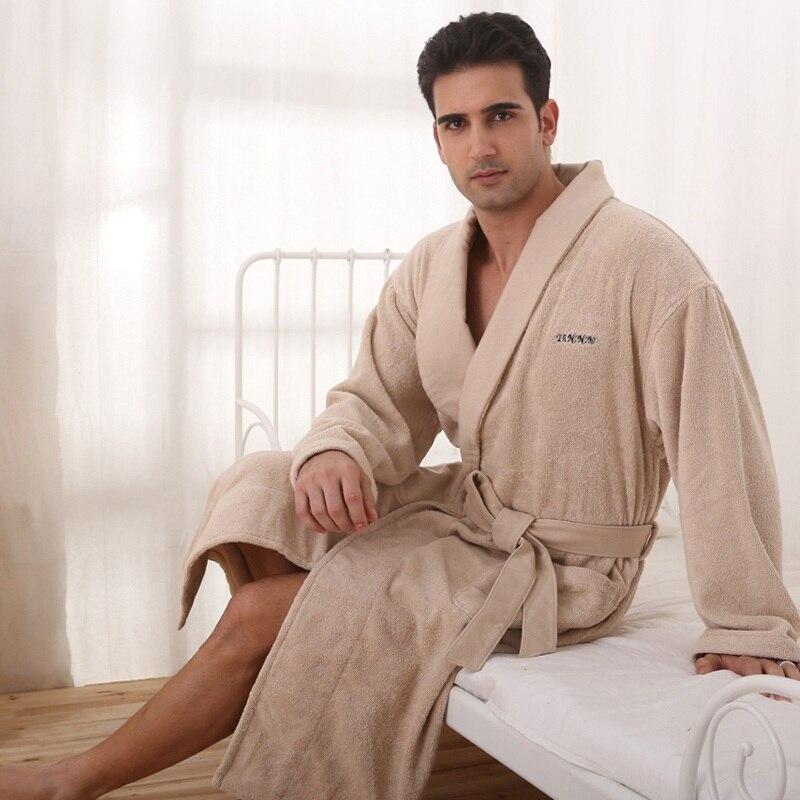 Men bathrobe cotton XL winter blanket towel fleece long nightgown girls nightdress ladies thicken soft warm