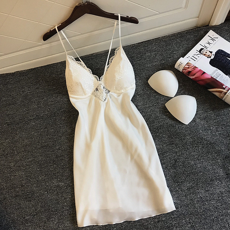 2019 Nightgowns & Sleepshirt Silk Sleepwear Women Night Dress Ladie Satin Sexy Lingerie Nightshirts Sleep Lounge