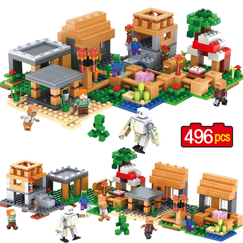 New My World Village Building Blocks Compatible Legoingly Minecrafted Steve Figures DIY Bricks Educational Toys For Children 400 pcs micro my world building blocks diy nether bricks blocks enlightentoys for kids compatible legoingly minecraft village