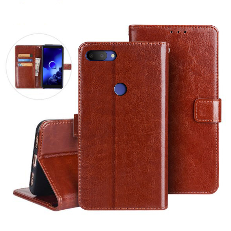 Alcatel 1S 5024D 2019 Flip PU Leather Phone Card Holder Stand Cover For Alcatel 1S 5024D Case Telefon Protector Wallet Coque Bag(China)