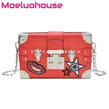 Moeluohouse Appliques Red Lips Stars Girl Women Shoulder Messenger Crossbody Box Bag Chain Hasp Flap Korean Style PU Cute Gift