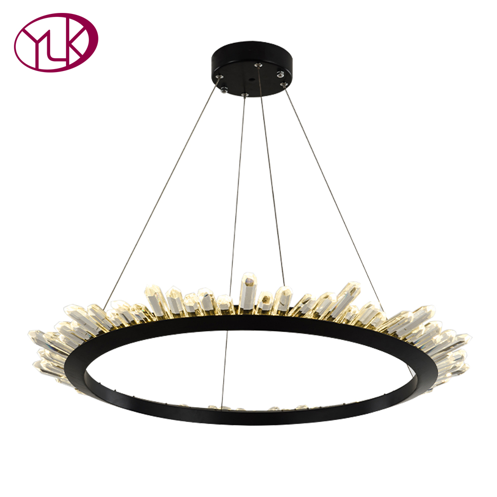 Youlaike Modern Crystal Chandelier For Living Room Black LED Hanging Lighting Fixture Luxury Home Decoration Lustres De Cristal zy hrc60 s