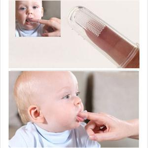2 Piezas Bebé Suave De Dedo De Silicona Dientes De Goma Limpio Masajeador Formación Cepillos Cepillo De Dientes Bebé Con El Caso Polvo Escudo De Alta Calidad