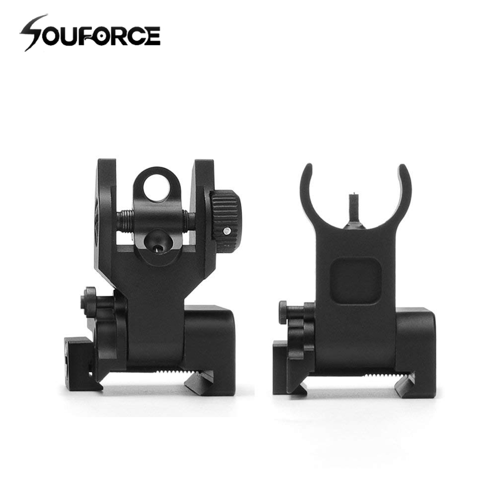 1pair Flip Up Front Rear Iron Sight Set Dual Half Moon Shape BUIS Sights Fit 20mm Mount Of Hunting Gun Rifle Airsoft Accessory