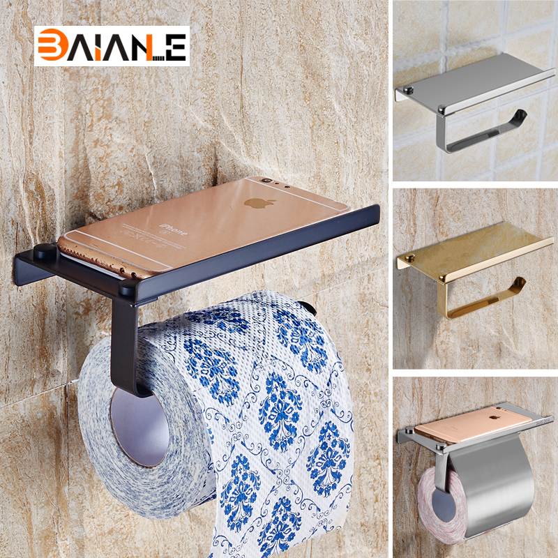 Wall Mounted Toilet Paper Holder Bathroom Stainless Steel Roll Paper Holders With Phone shelf