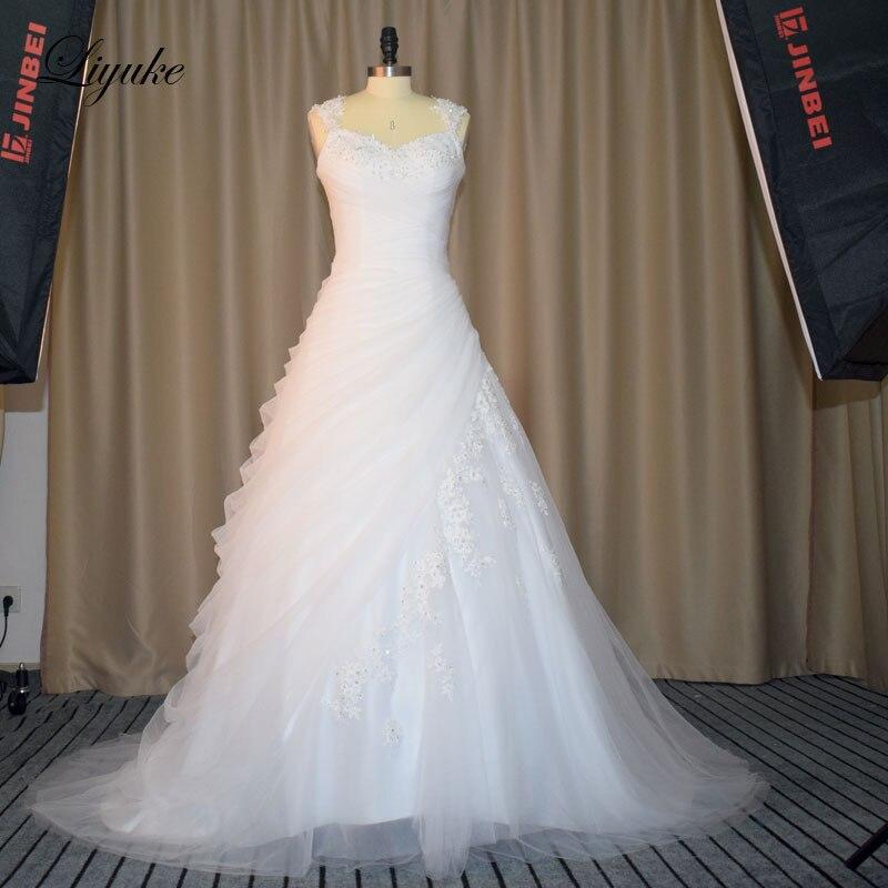 Fabulous Appliqued Tulle Sweetheart Neckline Wedding Dresses With Buttons A-Line Bride Dress Vestido De Noiva Liyuke HY01