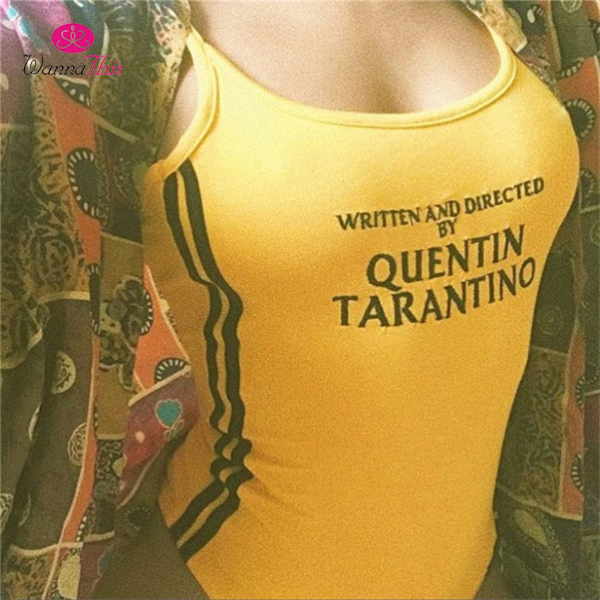 Wanna This Quentin Tarantino Bodysuits Women Sexy Cotton Knitted Sleeveless Side Stripe Rompers Letter Printed Jumpsuits Playsuit by Wanna This