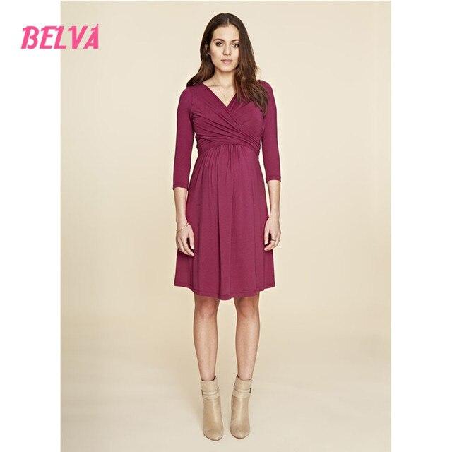 Belva 2017 maternity clothing Bamboo Fiber baby shower dresses Flexible breastfeeding dresses Breathable maternity dress DR149