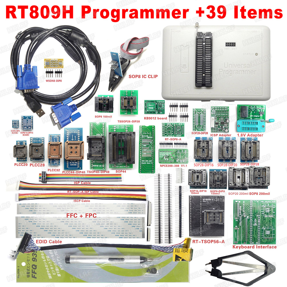 2019 Newest RT809H EMMC Nand FLASH Programmer 39 Items WITH CABELS EMMC Nand