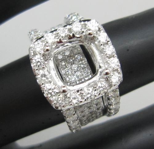 7x7mm Cushion Opening Natural Diamond 18K Gold Engagement Ring