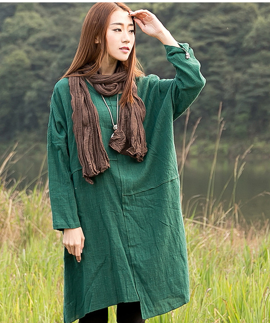 229a5a0e42f1 New 2015 spring autumn women loose casual dress long sleeve baggy style  vintage solid color linen+cotton dress plus size Q80735