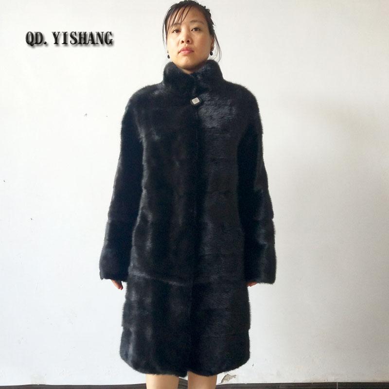 Abrigo de piel de visón Natural con Cuello de piel para dama manga larga fuera de temporada promoción especial venta directa de fábrica se puede personalizar
