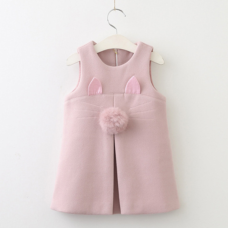 Girls Dress 2019 New Autumn Casual Style Solid A Line Sleeveless Rabbit Ears With Fur Ball Accessories KIds Dress 3 7Y in Dresses from Mother Kids