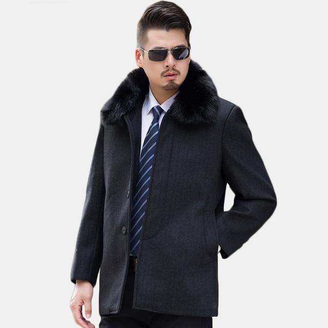 Men Wool Blend Fashion Long Coats Detachable Fur Collar Overcoat ...