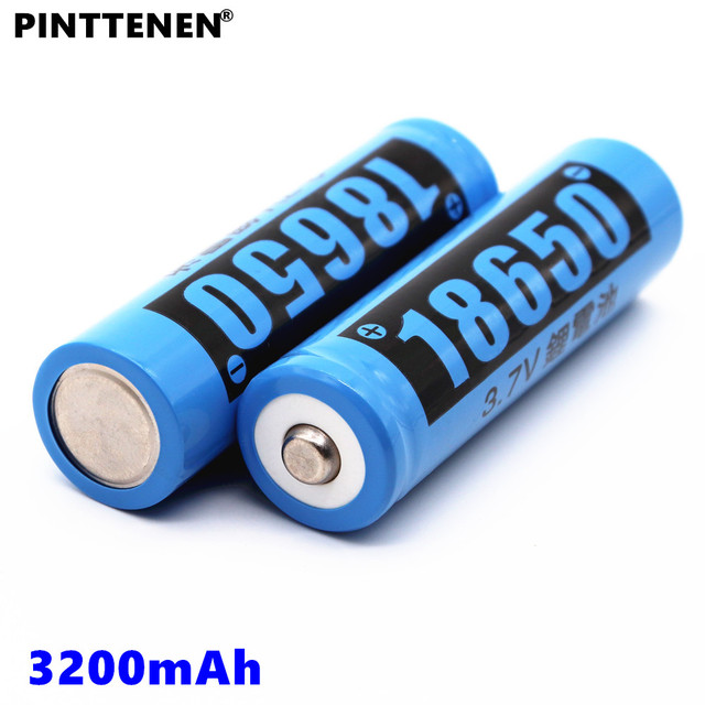 PINTTENEN new 18650 lithium ion rechargeable battery 3.7V 3200mAh capacity electric toy alarm clock flashlight battery gift