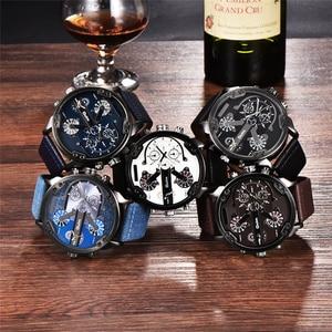 Image 5 - Oulm Merk Super Grote mannen Wijzerplaat Horloges Dual Time Zone Horloge Casual PU Leer Luxe Merk Mannen Quartz Horloge