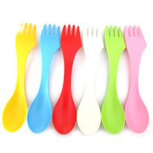6pcs/set 3 In 1 Spoon Fork Knife Camping Hiking Utensils Spork Combo Travel Tableware