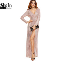 SheIn Sexy Club Wear Party Dress Womens Gold Knot Deep V Neck Twist Front High Slit