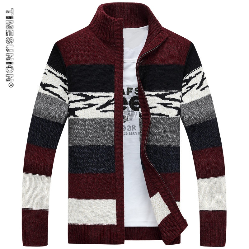 TIMESUNION font b Men s b font Knitted font b Sweaters b font Cardigans Collar Winter