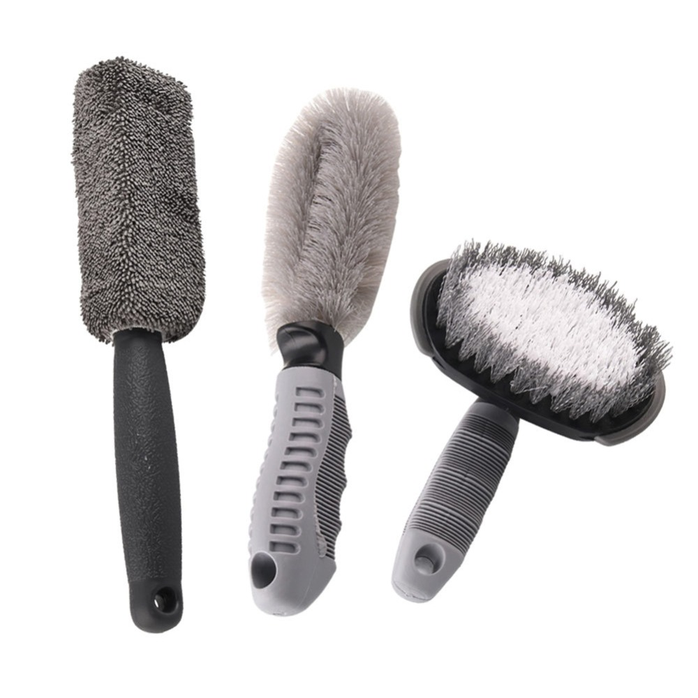 Auto Accessories 3Pcs/set Car Wheel Brush Motorcycle Washing Soft Non-Scratch Material