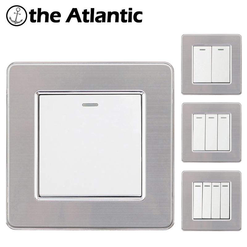 Wall Switch White Light Switch 1 2 3 4 Gang Button On Off Push Button LED Lamp Light Switch Interruptor Stainless Steel Panel in Switches from Lights Lighting