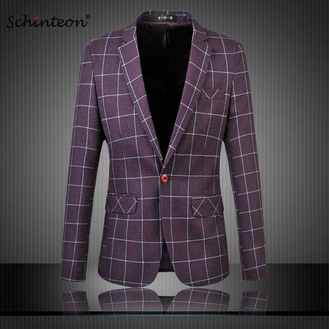 1bb0a0c51de Plus Size Men Blazer Jacket Tartan Business Suit One Button Slim Casual  Outwear M-6XL